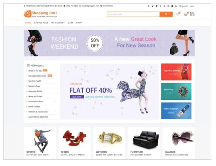 Shopping cart- WordPress Theme For Business