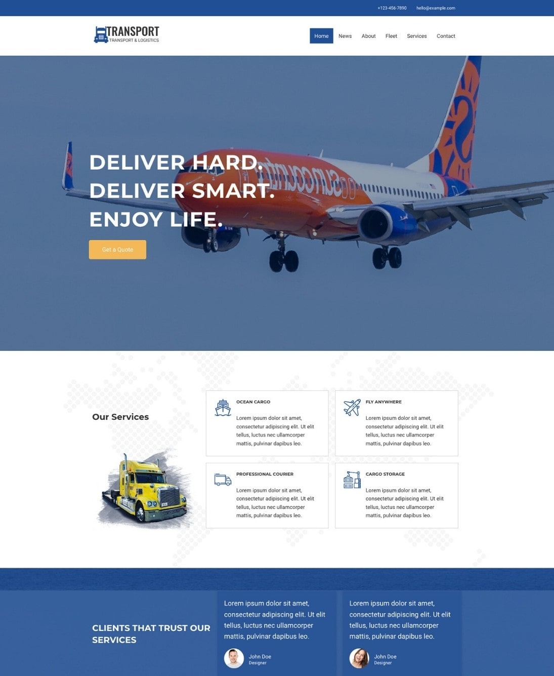 Transport and logistics WordPress template