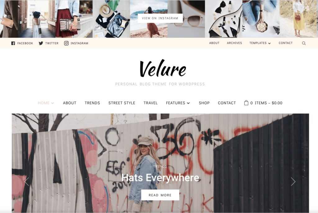 Velure - WordPress theme for bloggers