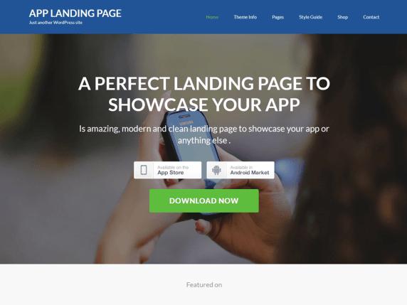 App landing page- WordPress theme
