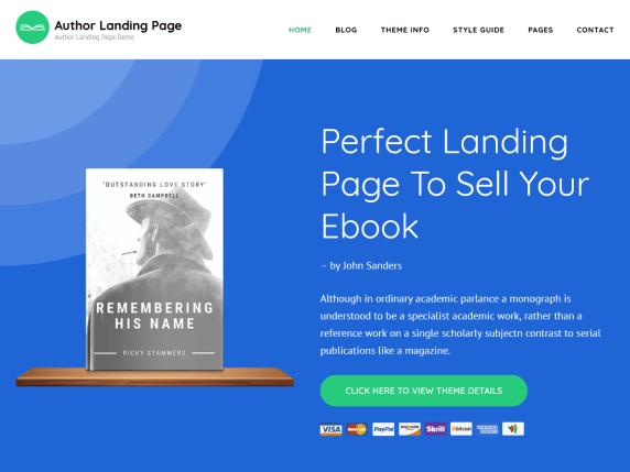 Author landing page- WordPress theme
