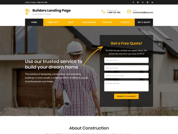 Builders landing page- WordPress theme