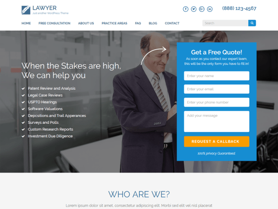 Lawyer landing page- WordPress theme