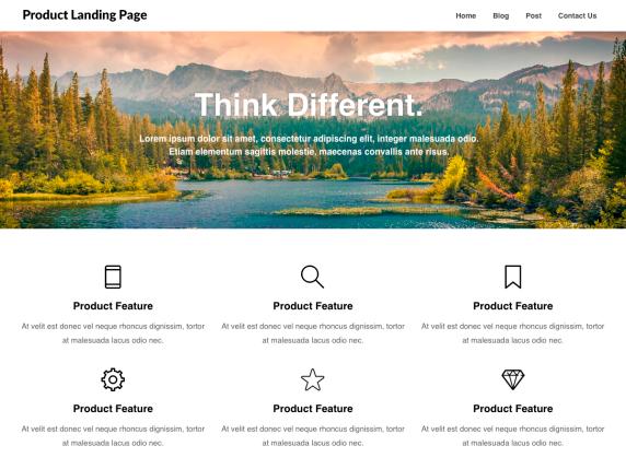Product landing page- WordPress theme