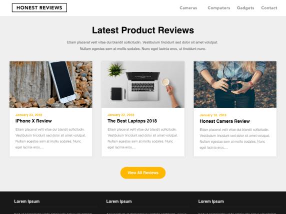 Reviewers landing page- WordPress theme
