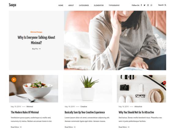 Saaya- free WooCommerce theme