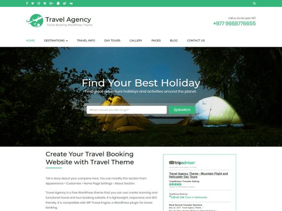 Travel Agency- WordPress theme