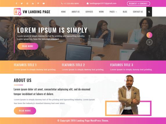 VW landing page- WordPress theme