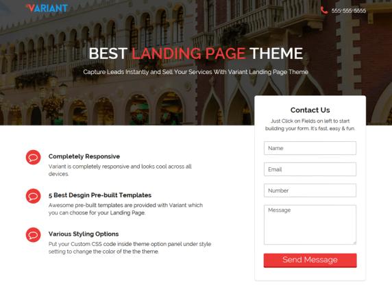 Variant landing page- WordPress theme