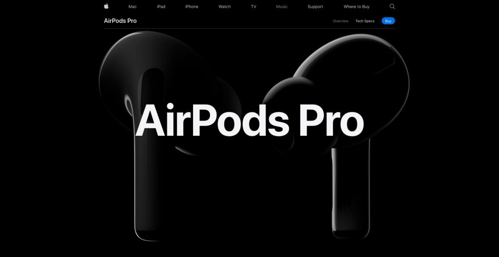 Scroll generated website- Apple AirPod Pro