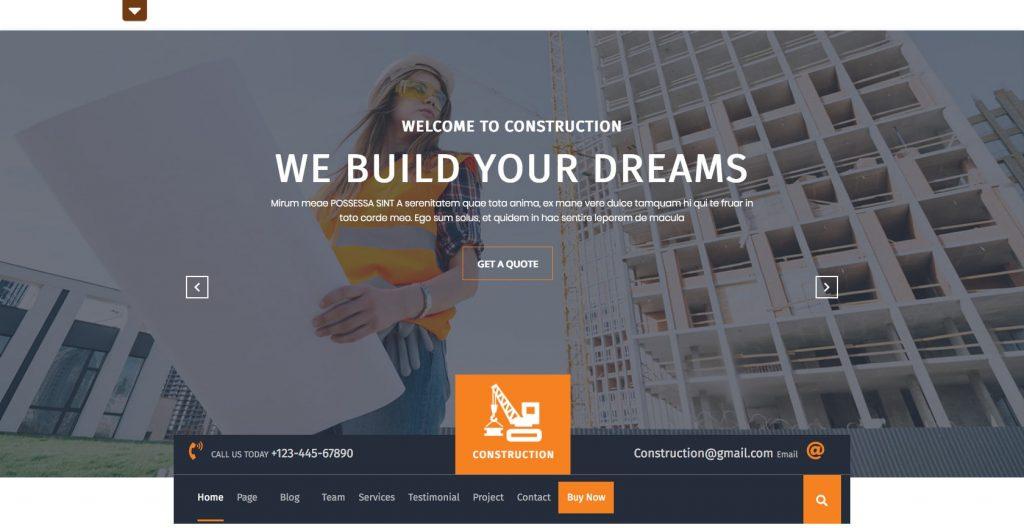 Construction Hub- Free WordPress construction theme