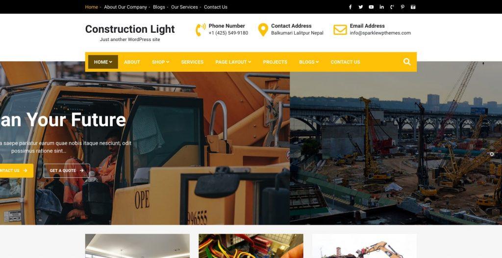 Construction Light- Free WordPress construction theme