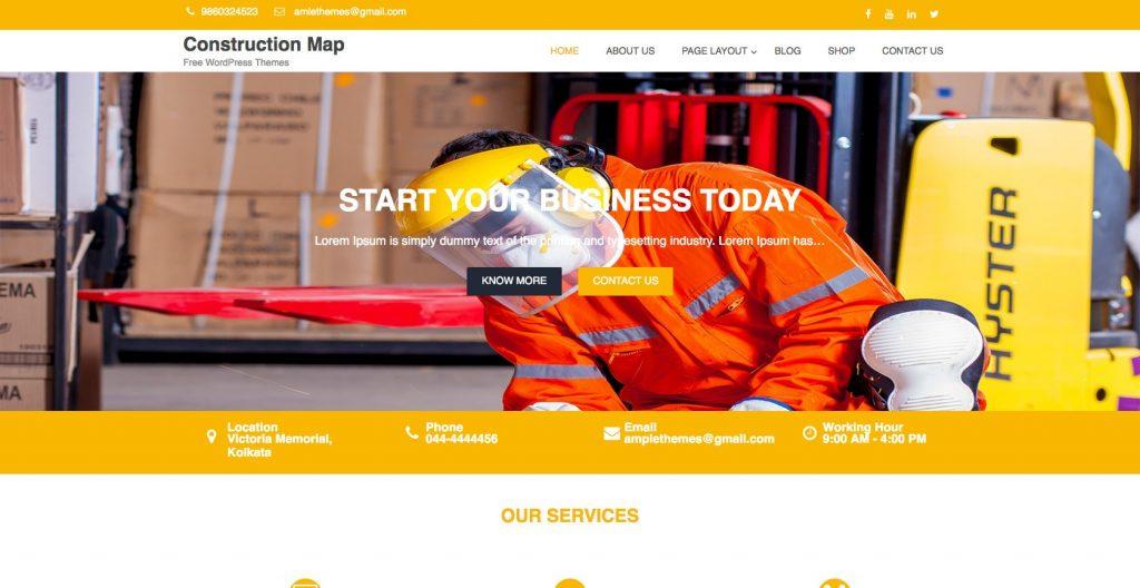 Construction map- Free WordPress construction theme