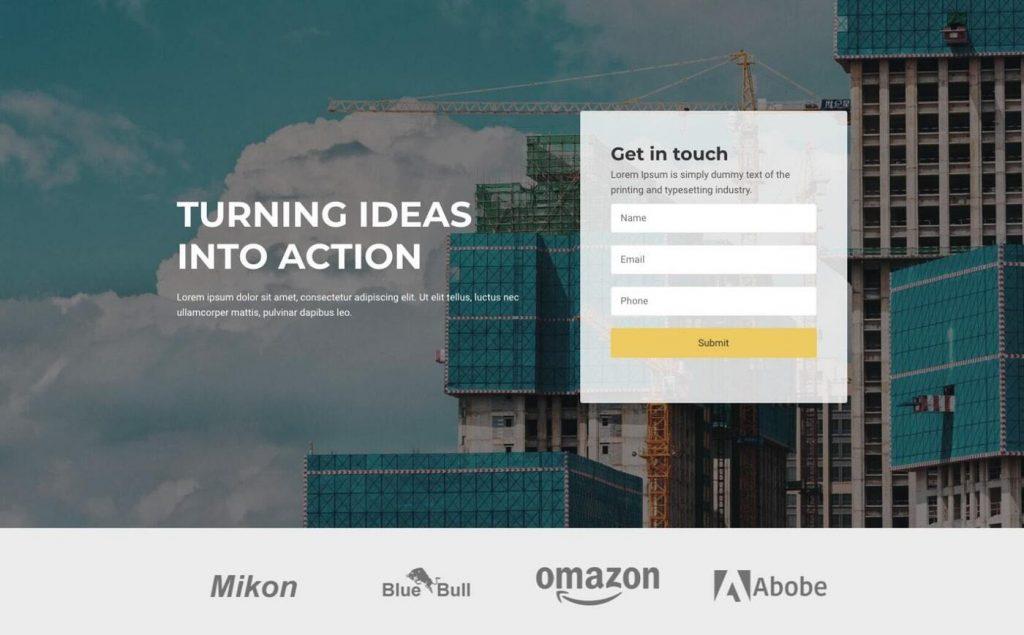 Construction WordPress landing page theme
