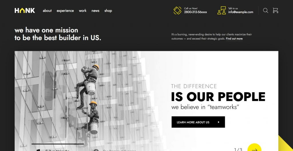 Hank- WordPress construction theme