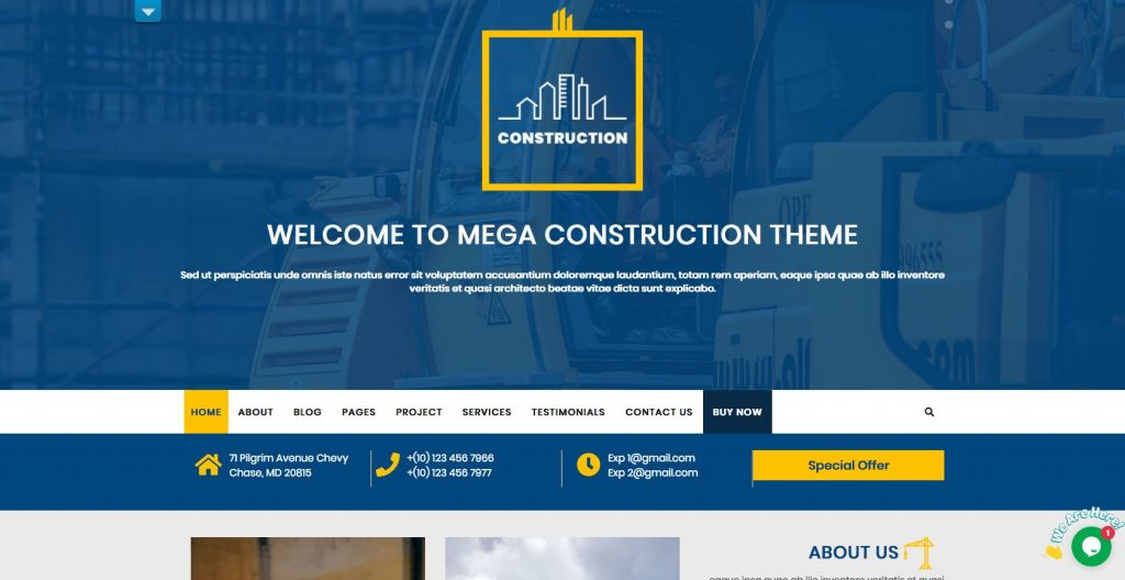 Modern Construction- Free WordPress construction theme