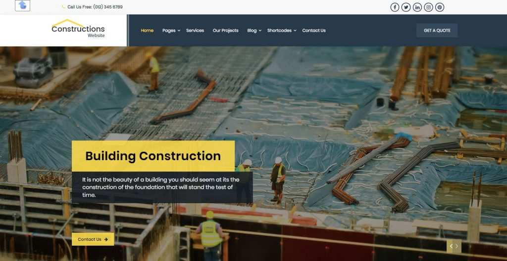 Nirman Construction- Free WordPress construction theme