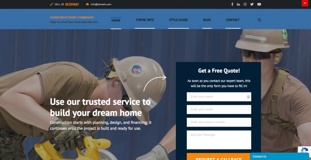 Construction Company- Free WordPress construction theme