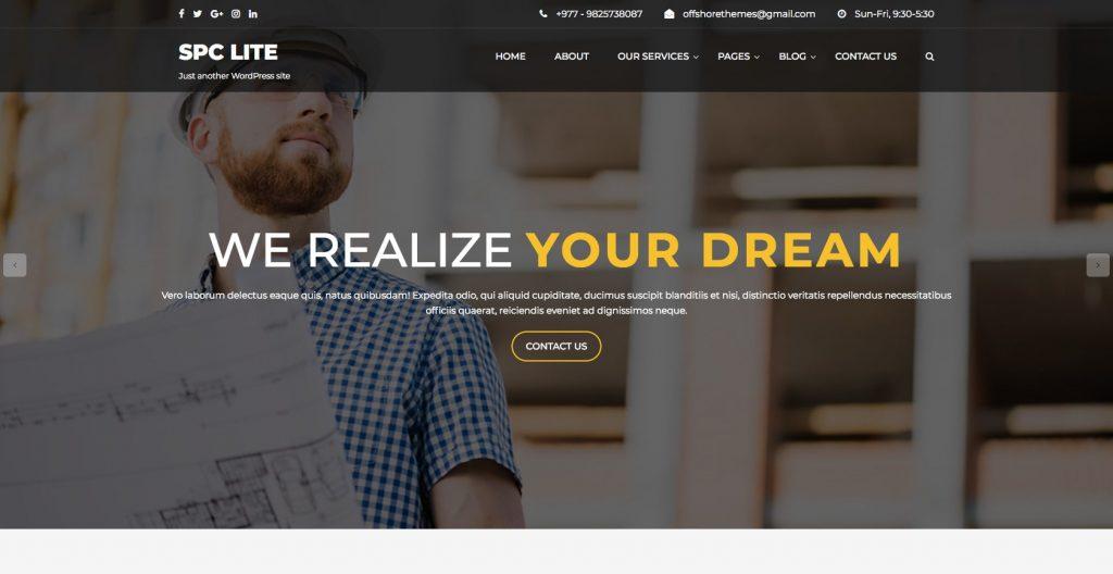 Spark Construction Lite- Free WordPress construction theme