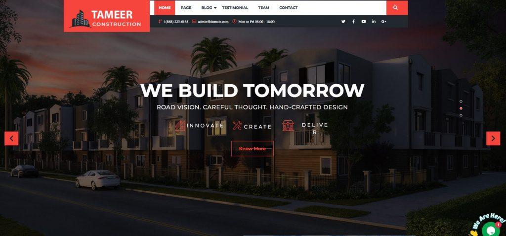 Tameer Construction- Free WordPress construction theme