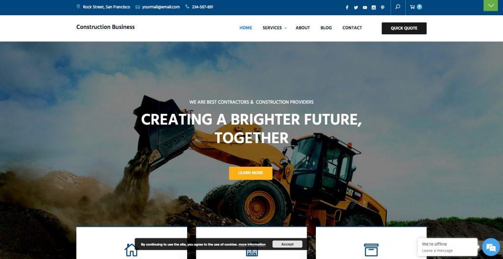 Construction Business- Free WordPress construction theme
