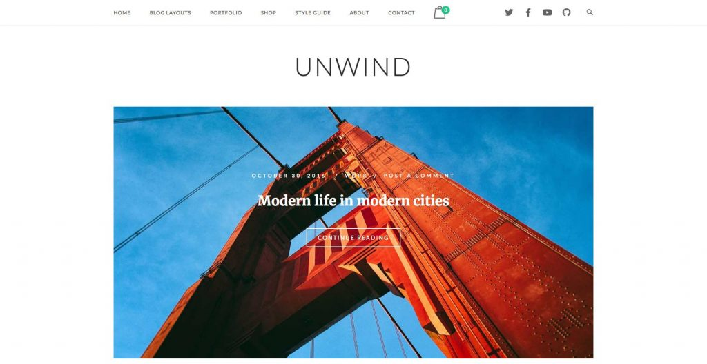 SiteOrigin Unwind- Blog theme with slider