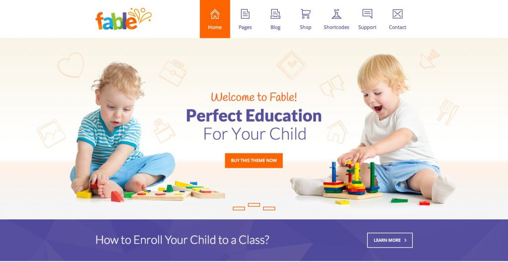 Fable- WordPress education theme for kids