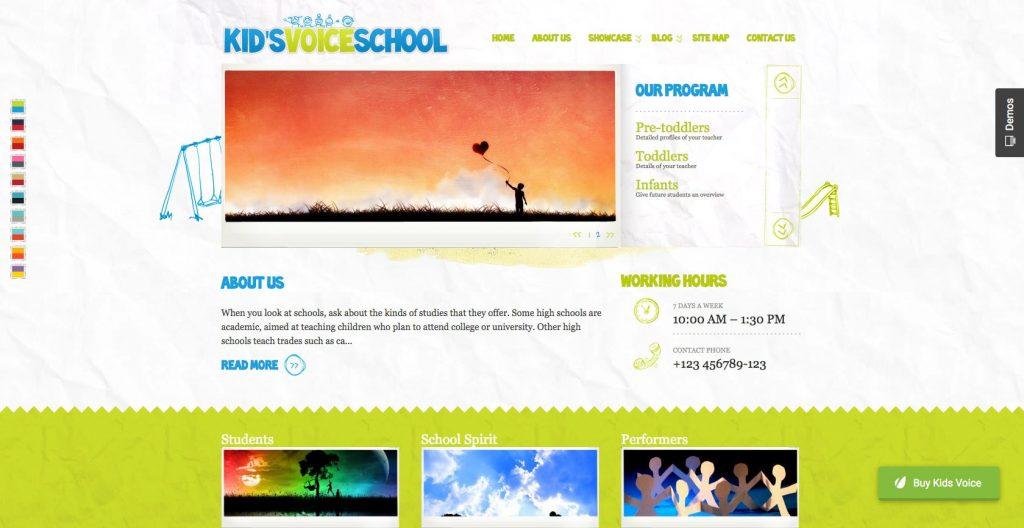 Kids voice school- WordPress education theme for children