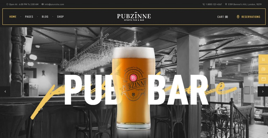 Pubzine- sports bar and restaurant WordPress theme