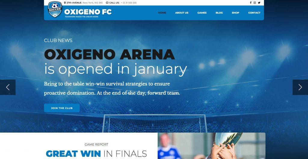 Oxigeno- WordPress sports theme