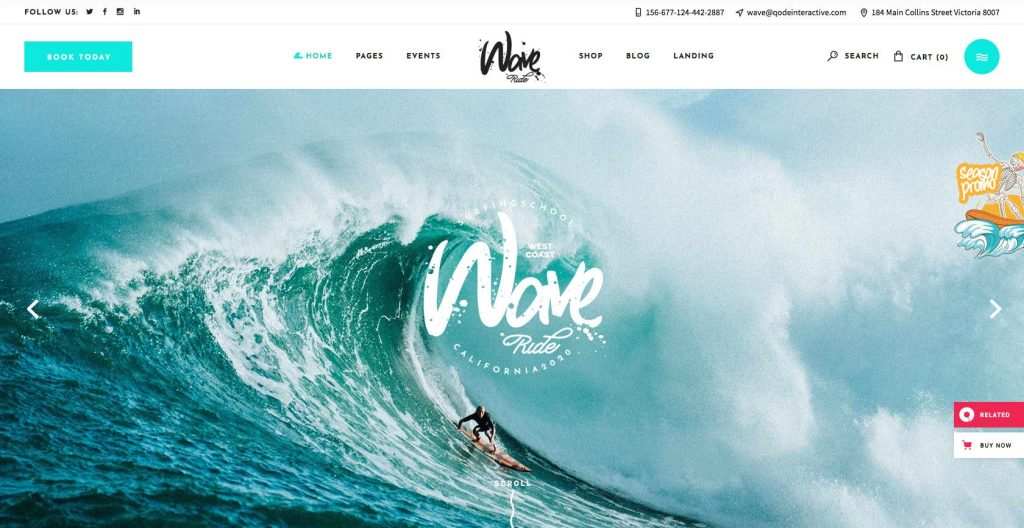 Wave Ride- WordPress theme for surfing and water sports