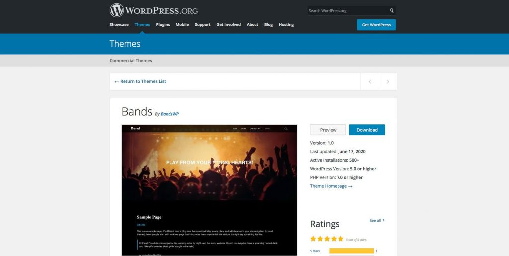 Bands- Free drag and drop WordPress theme