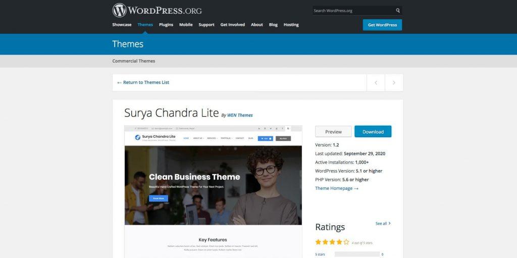 Surya chandra lite- Free drag and drop WordPress theme