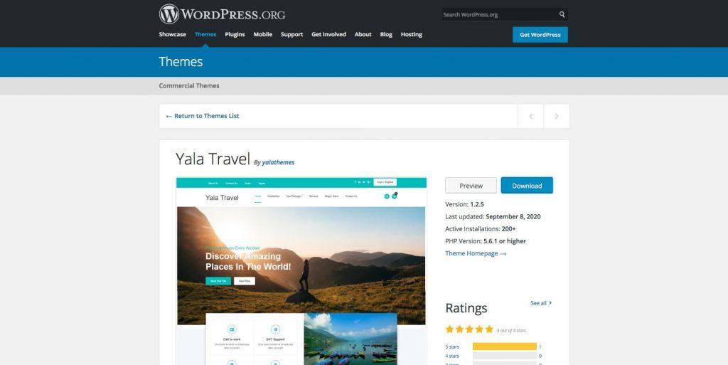 Yala travel- WordPress drag and drop travel theme