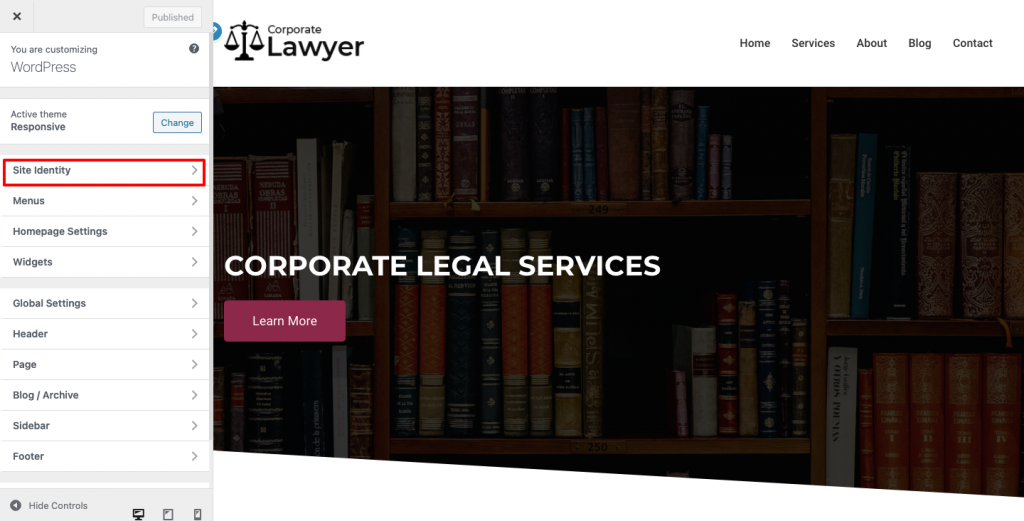 Lawyer website- site indentity