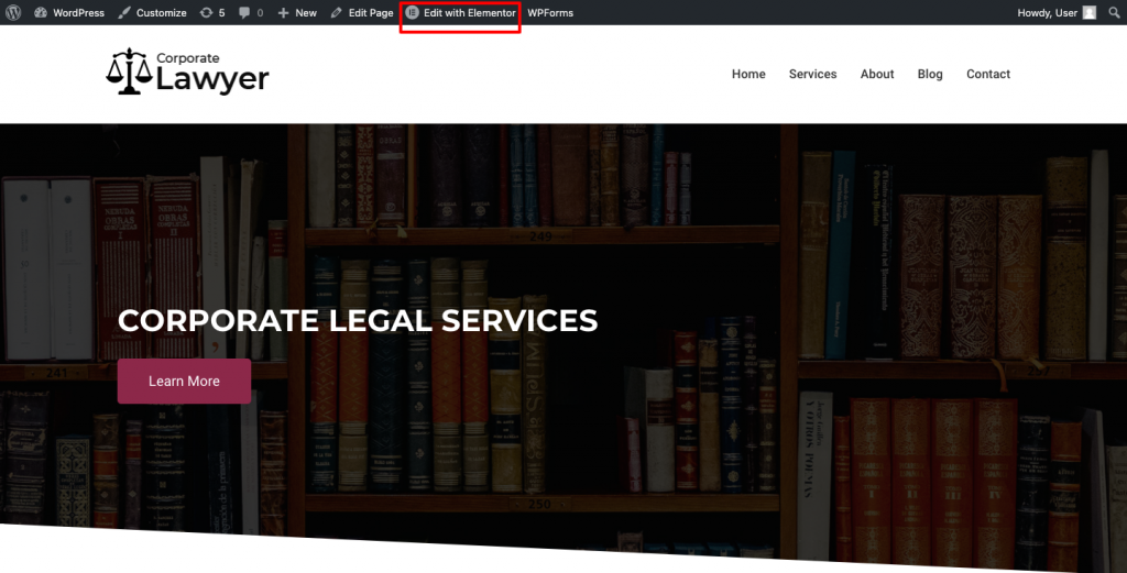 Edit with elementor on lawyer website
