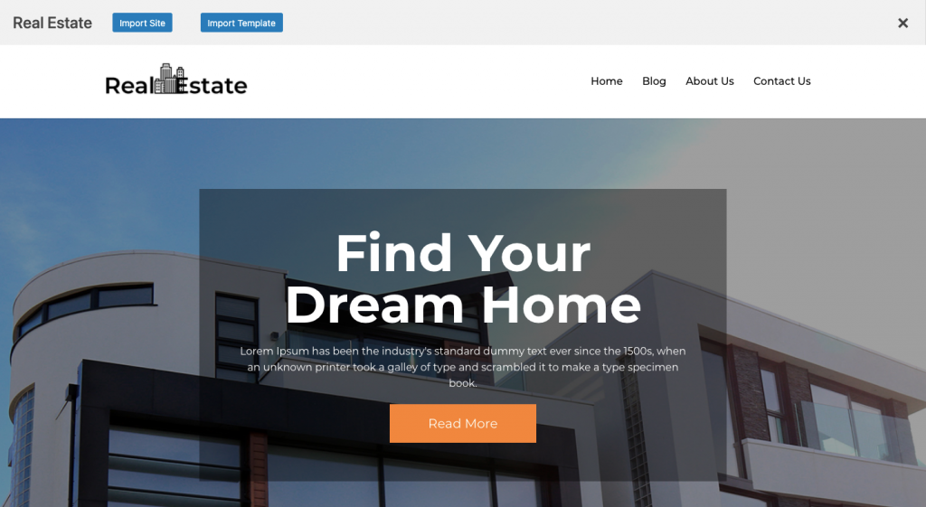 Import Site  wordpress real estate business