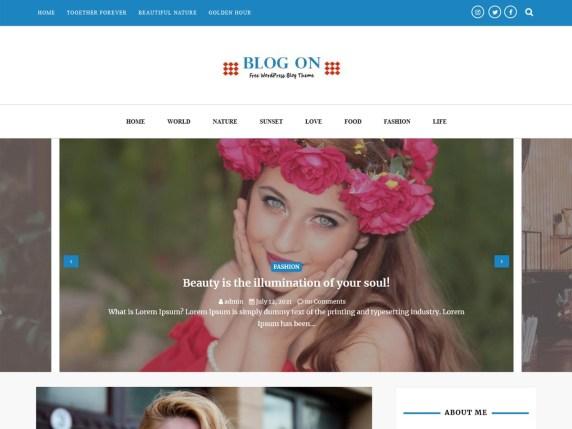 Blog On- Free WordPress theme with slider
