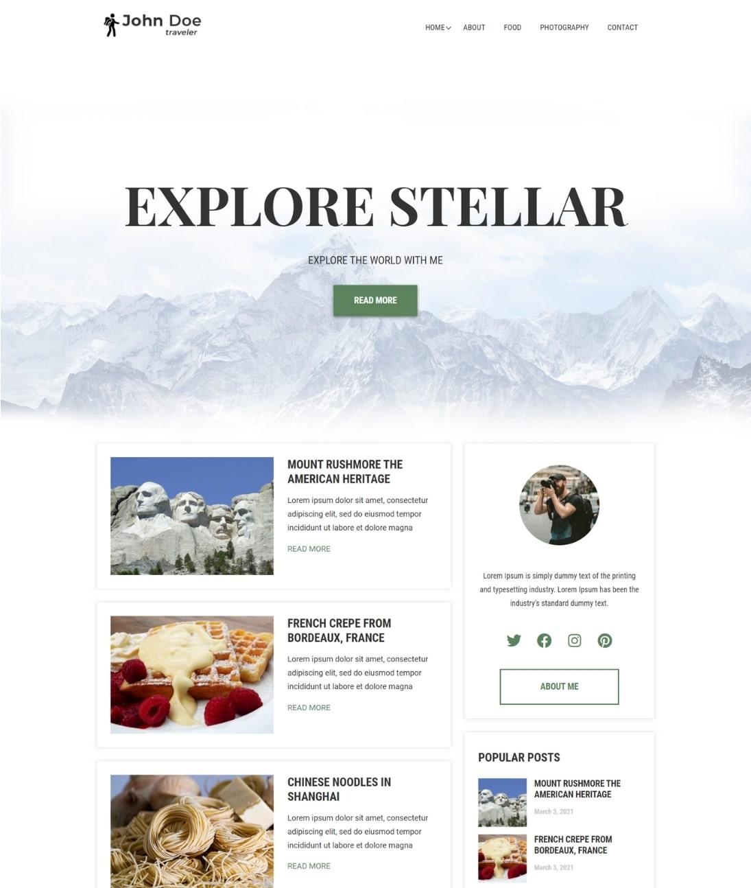 WordPress travel blog theme- Demo
