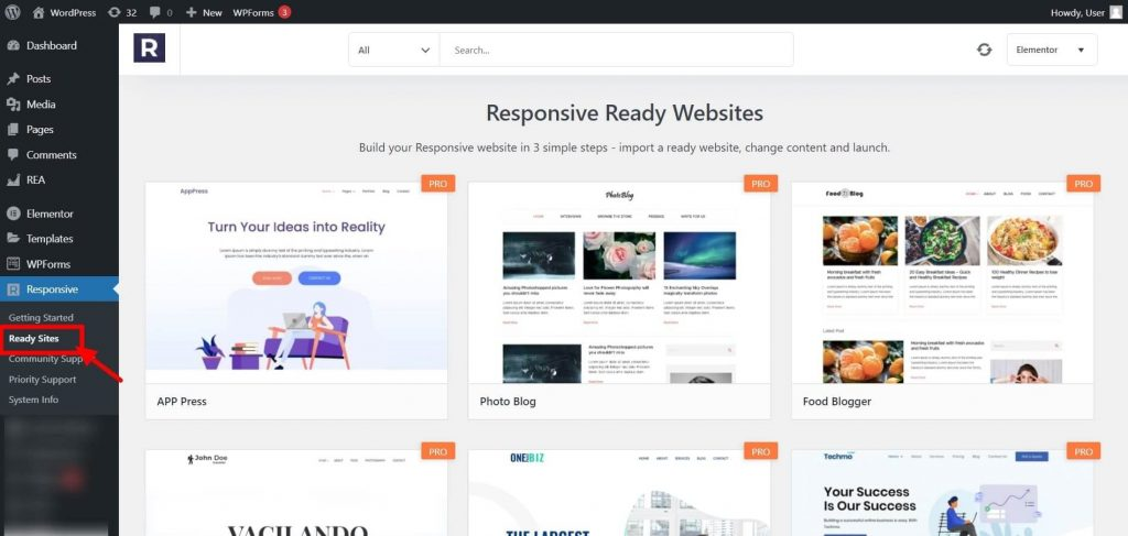List of ready-site templates