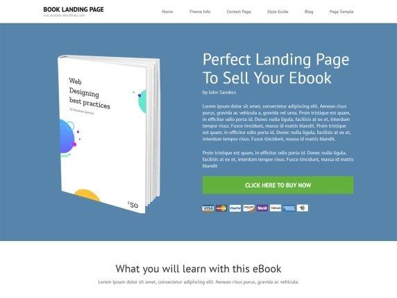 Book landing page- WordPress free landing page theme
