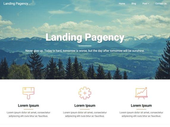 Landing Pagency- Free WordPress  landing page theme