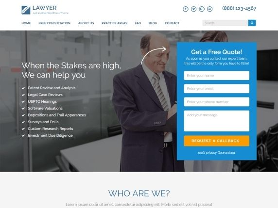 Lawyer landing page- Best free landing page theme
