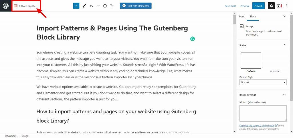 Pattern Importer feature- Responsive Gutenberg Blocks Library