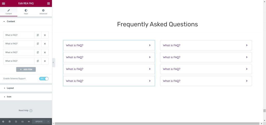 REA FAQ Widget