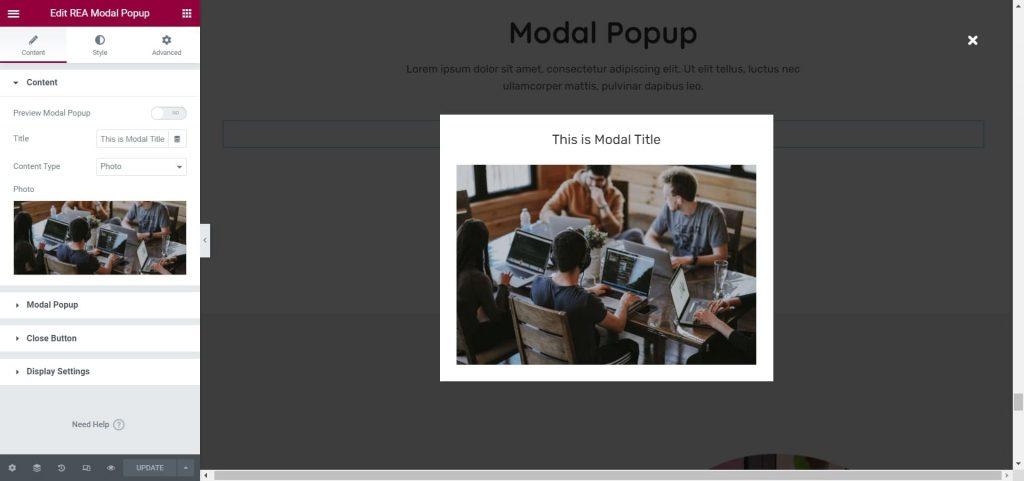 REA Modal Popup Widget