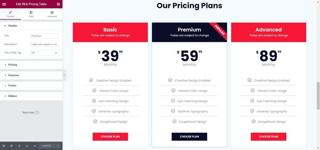 REA Pricing Table Widget
