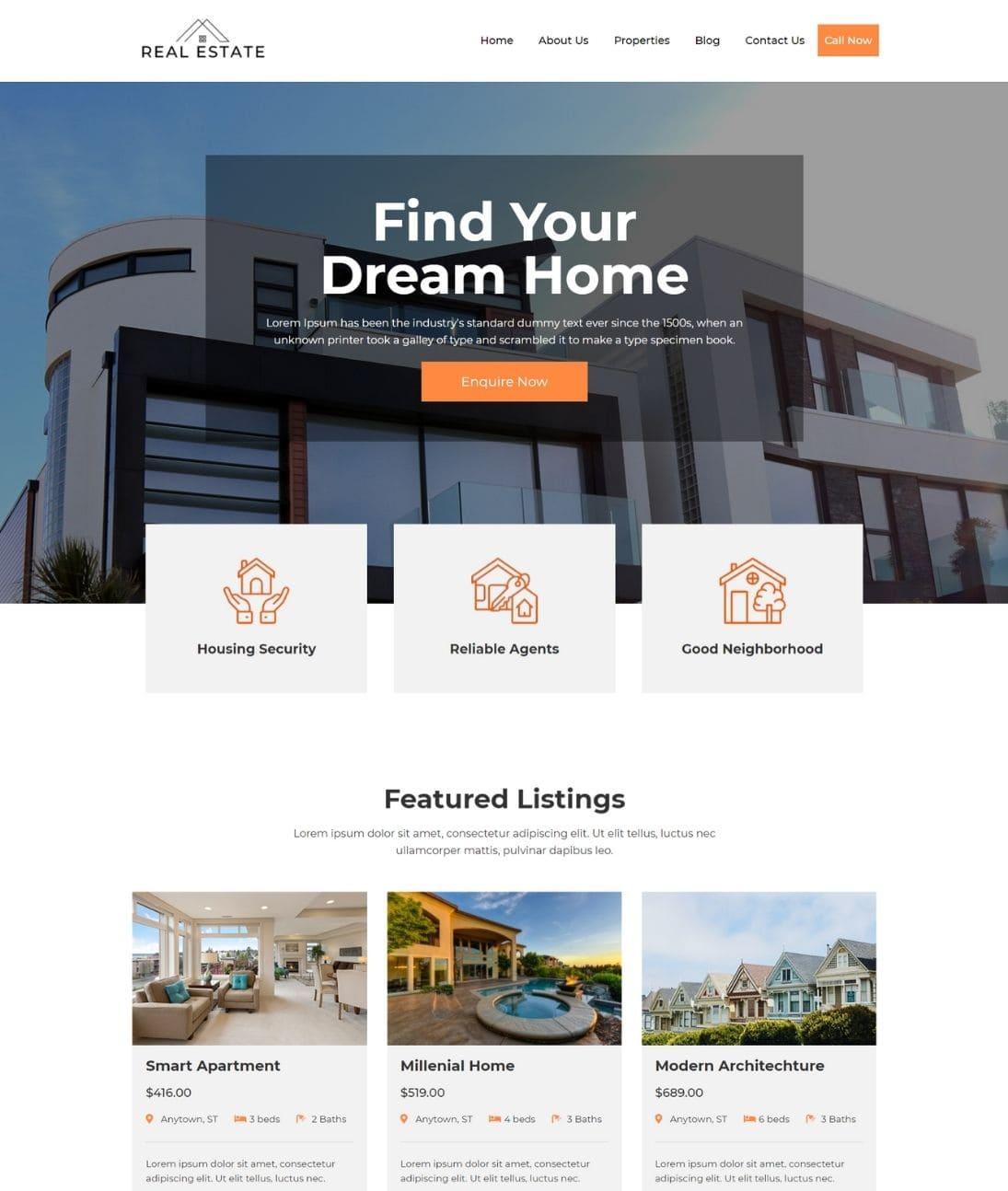 Free Real Estate WordPress Theme